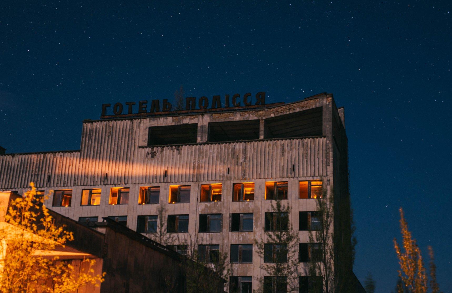 Pripyat at night.